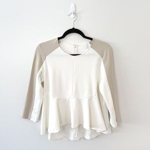 Imperial Off-White & Ivory Peplum 3/4 Sleeve Top